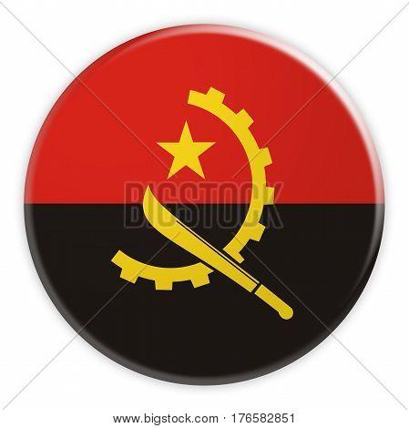 Angola Flag Button News Concept Badge 3d illustration on white background