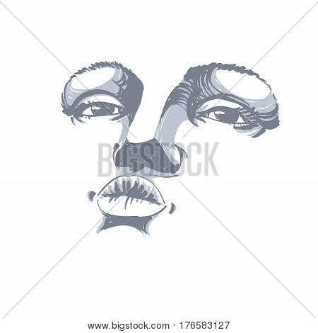 Black and white illustration of lady face delicate visage features. Eyes and lips of a woman expressing positive emotions delicate stylish tender girl giving a kiss