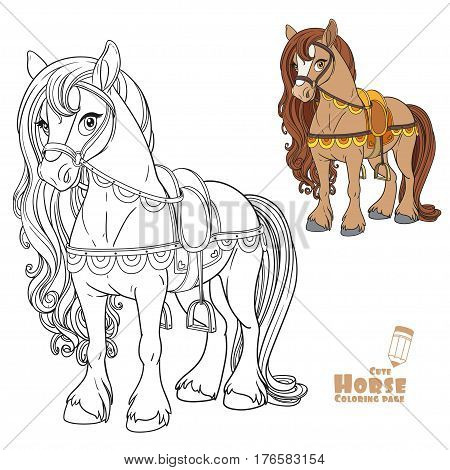 Cute Horse Harnessed To A Saddle Color And Outlined Picture For Coloring Book On White Background