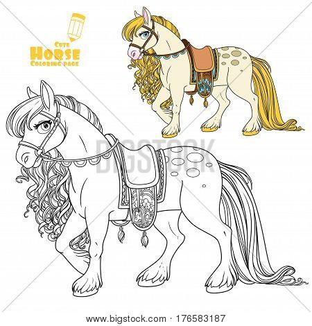 Cute white horse with golden mane harnessed to a saddle color and outlined picture for coloring book on white background