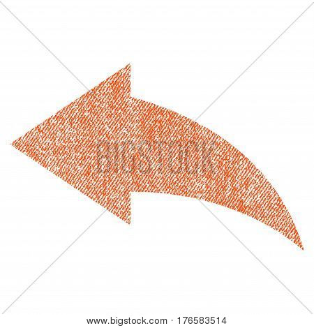 Undo vector textured icon for overlay watermark stamps. Fabric orange vectorized texture. Symbol with scratched design. Rubber seal stamp with fiber textile structure.