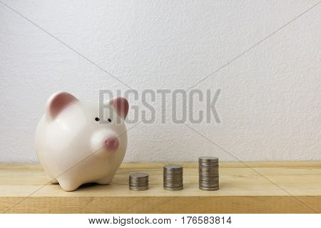 Piggybank and money tower for money concept