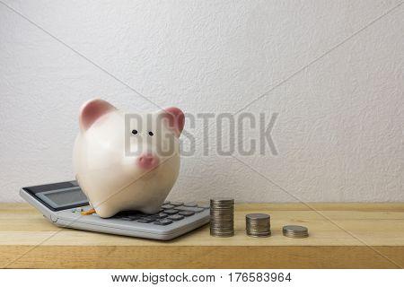 Piggybank and money for money concept, coins