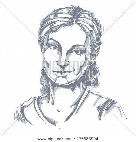 Hand-drawn vector illustration of beautiful skeptic woman I do not believe you. Monochrome image expressions on face of young lady doubter.