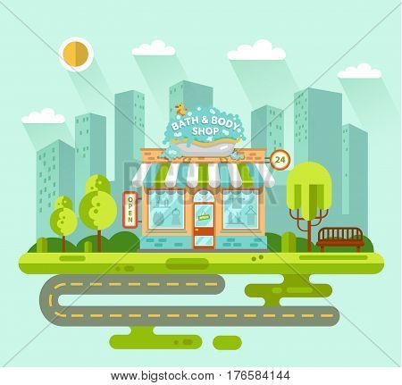 Vector flat style illustration of City landscape with bath and body shop building street with road bench trees and sun. Signboard with big wash tub with foam and duck. Shop vitrine with room utensils