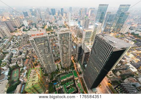 Chengdu Sichuan Province China - Oct 23 2016: Chengdu downtown aerial view