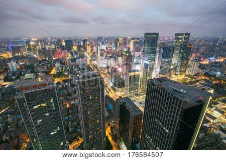 Chengdu Sichuan Province China - Oct 23 2016: Chengdu downtown aerial view at night