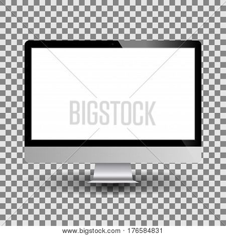 Personal computer monitor mockup with empty white screen. Realistic PC display. Vector illustration.