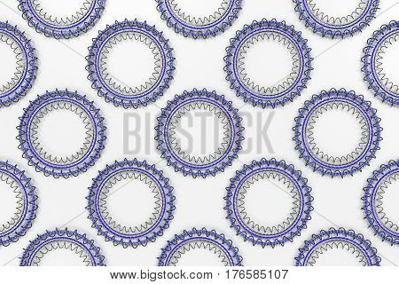 Pattern Of Concentric Shapes Made Of Rings And Spirals On White Background