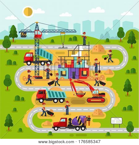 Flat design vector landscape illustration city map with construction process. Workers build a house. Including crane bulldozer or excavator concrete mixer road cement unloading truck with sand.