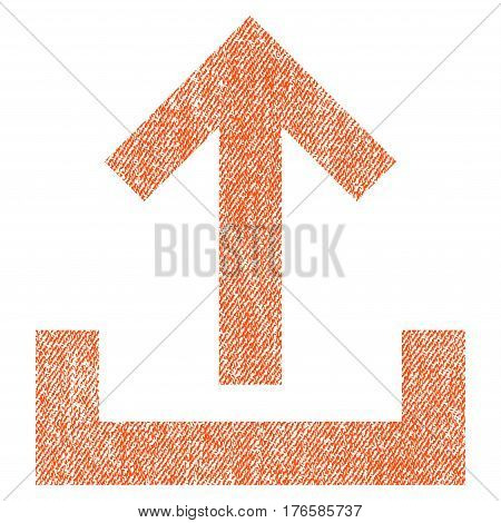 Upload vector textured icon for overlay watermark stamps. Fabric orange vectorized texture. Symbol with dust design. Rubber seal stamp with fiber textile structure.