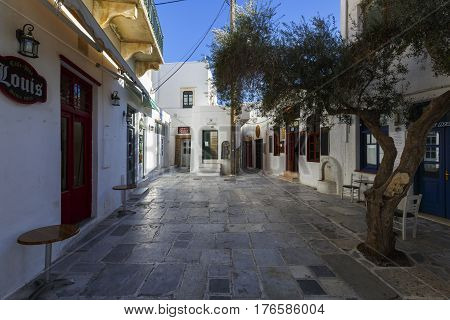 CHORA, GREECE - JANUARY 13, 2017: View of Chora village on Ios island, Greece on January 13, 2017.