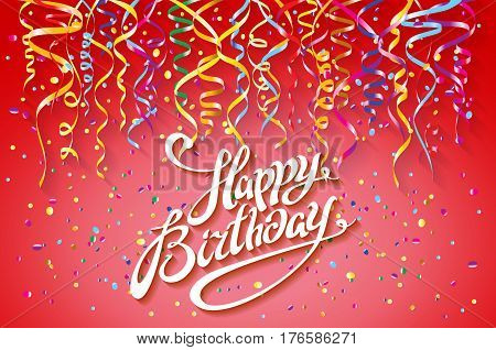 Happy Birthday Card Template, Confetti. Holiday Background. Top View. Sign Design With Colorful Conf