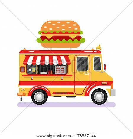 Flat design vector illustration of fast food van. Mobile retro vintage shop truck icon with signboard with big tasty hamburger. Car side view isolated on white background