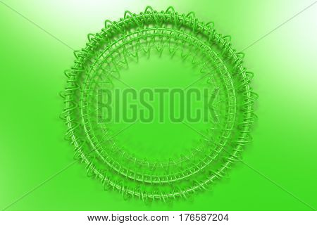 Concentric Shape Made Of Rings And Spirals On Green Background