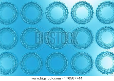 Pattern Of Concentric Shapes Made Of Rings And Spirals On Blue Background