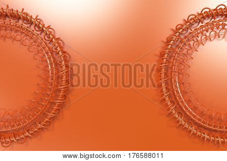 Concentric Shape Made Of Rings And Spirals On Orange Background