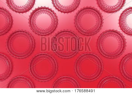 Pattern Of Concentric Shapes Made Of Rings And Spirals On Red Background