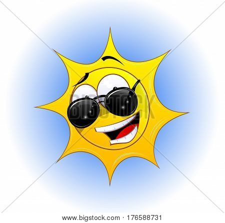 Fun cartoon smiling sun in sunglasses. Vector illustration