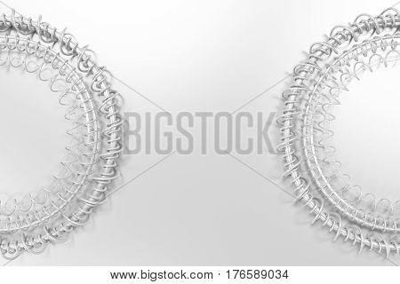 Concentric Shape Made Of Rings And Spirals On White Background
