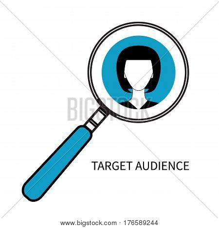 Icon of target audience. Woman portrait under magnifying glass. Vector illustration.