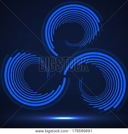 Abstract technology circles geometric logo, vector background