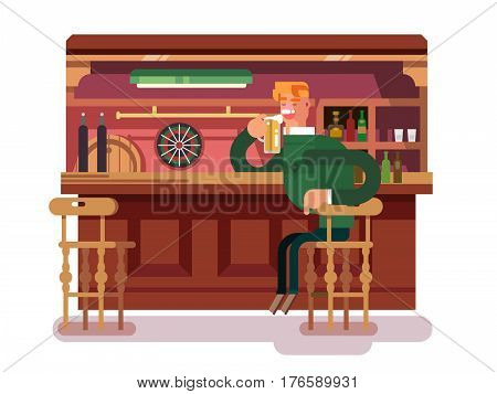 Shop pub beer. Bar and drink, alcohol in glass, beverage and counter, lager mug. Vector illustration