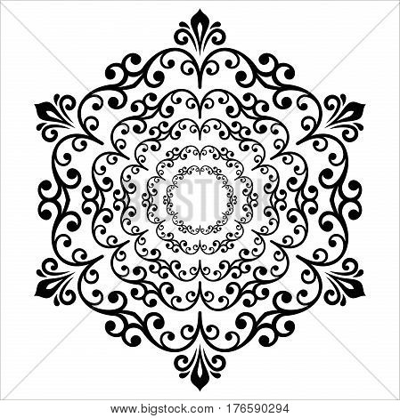 Elegant black round ornament in the style of barogue. Abstract traditional pattern with oriental elements