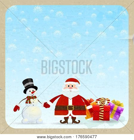 Santa Claus and snowman with gifts on a retro background