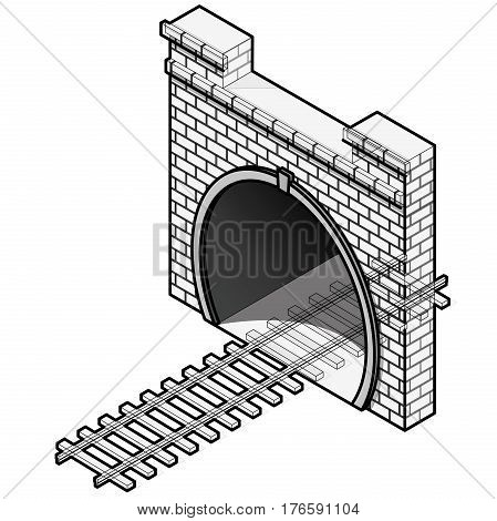 Vector railway low poly tunnel in isometric 3d perspective in outline stylization. Old stone circular tunnel with a light at the end. Isolated on white background. Diminishing perspective.