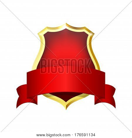 Golden red shield with a red ribbon for your text