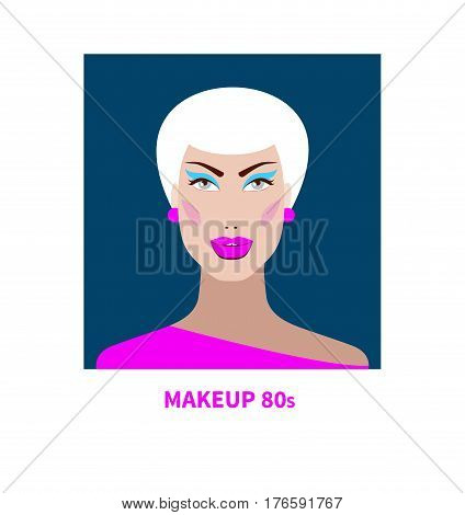 Portrait of young girl with makeup in style of 80s. Beautiful fashion face. Vector illustration