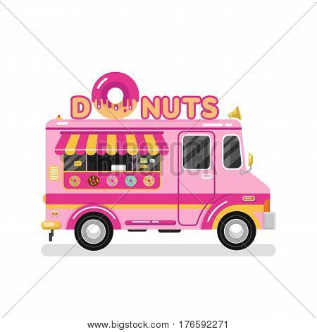 Flat design vector illustration of donuts car. Mobile retro vintage shop truck icon with signboard with big donut with tasty glaze. Van side view isolated on white background.