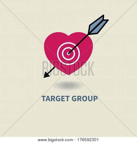 Icon target audience. Target in shape of heart and arrow. Target group. Logo marketing agency. Vector illustration