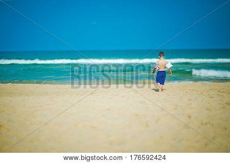 Backview of little boy  llooking over ocean on sandy beach