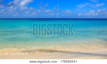 Beautiful caribbean sea and blue sky .Sommer ocean landscape as background.