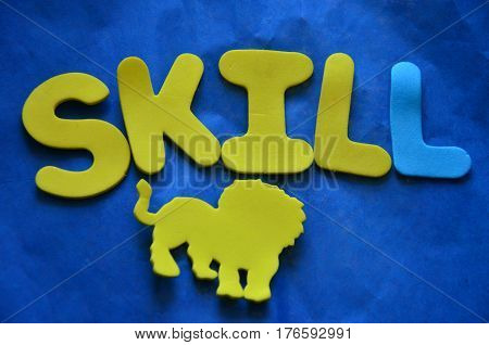 word skill on a  abstract colorful background