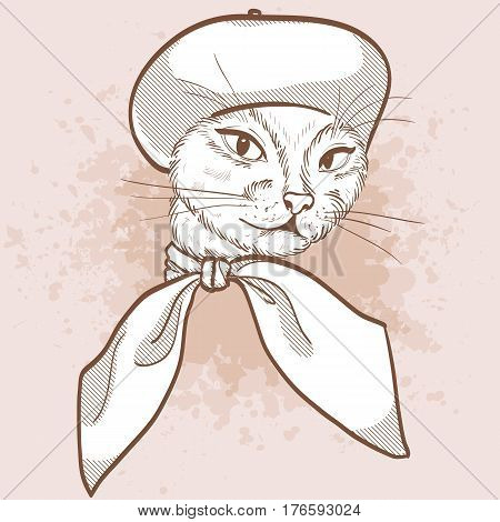 Vector sketch of elegant cat womans face with beret and scarf