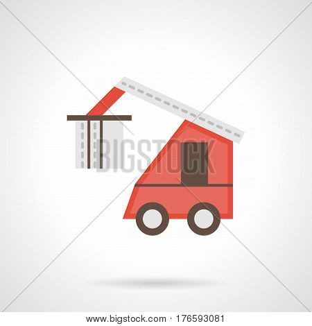 Vehicle for loading of goods, logs and other freights. Abstract loader truck with crane. Flat color style vector icon.