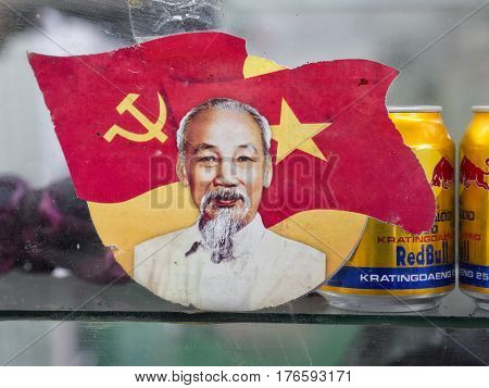 hue vietnam - january 1 2017: portrait of ho chi minh in the market in hue vietnam
