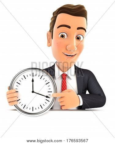 3d businessman pointing on a wall clock illustration with isolated white background