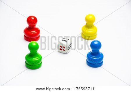 board game play and dice on white