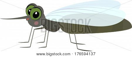 Cartoon mosquito, fun insect isolated on white