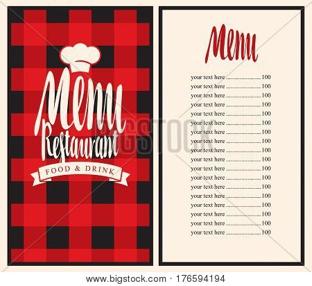 Vector restaurant menu template with price list and toque on a checkered background