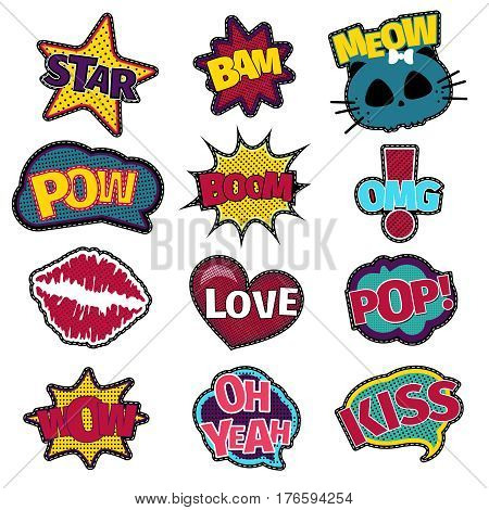 Girl fashion stitched patch set with words love and star, kiss and omg. Vector illustration