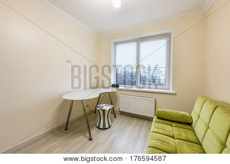 Stock photo white apartment interior design of bedroom, modern style, chisinau, moldova