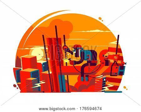Welder climber character. Worker metal, construction steel, industrial job, craftsman vector illustration