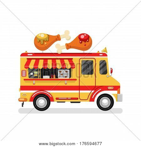 Flat design vector illustration of cartoon fried chicken car. Mobile retro vintage shop truck icon with signboard with two big chicken legs with ketchup and mustache. Van side view isolated on white.