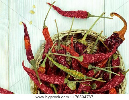 Arrangement of Dried Chili Peppers Full Body with Stems and Seeds in Wicker Bowl Cross Section on Light Green Wooden background