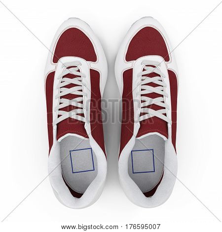 New unbranded running shoe, sneaker or trainer isolated on white background. Top view. 3D illustration